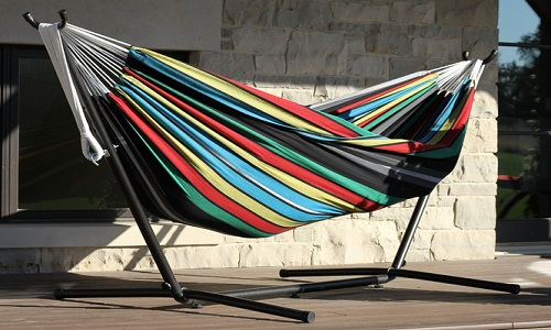 Vivere Double Hammock With Space-Saving Steel Stand