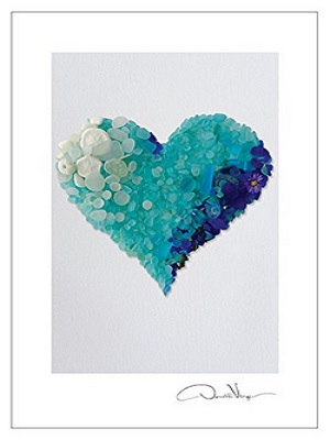 Sea Glass Hearts Postcard Variety Pack