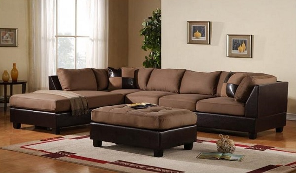 3 Piece Modern Microfiber Faux Leather Sectional Sofa With Ottoman