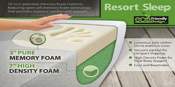 Resort Sleep Queen Size 10 Inch Cool Memory Foam Mattress With 20 Year Warranty