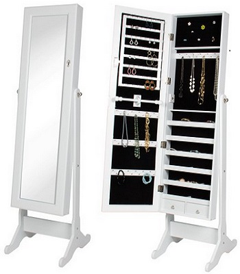Best Choice Products Mirrored Jewelry Cabinet Armoire With Stand