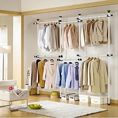 Portable Indoor Garment Rack Tools-free DIY Coat Hanger Clothes Wardrobe