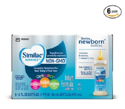 Similac Advance Non-GMO Newborn 8 Bottles With Nipple And Ring