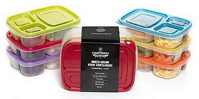 6 Pack Premium Eco Friendly 3-Compartment Bento Lunch Box