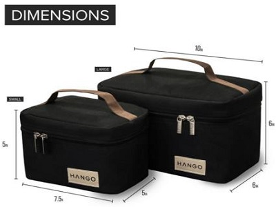 Hango Insulated Black Lunch Box Cooler Bag Set Of 2 Sizes