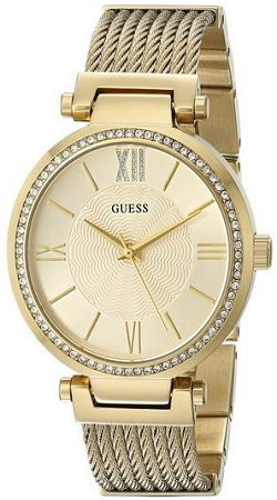 Guess Women's Gold Tone Watch With Self-Adjustable Bracelet And Genuine Crystals