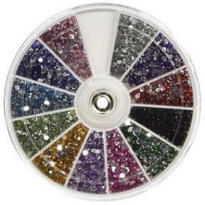 350Buy Rhinestones 2400 Piece 12 Color Nail Art Manicure Wheels