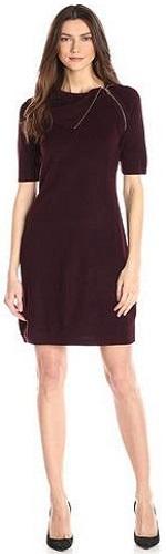 Calvin Klein Women's Elbow Sleeve Mid-Length Sweater Dress