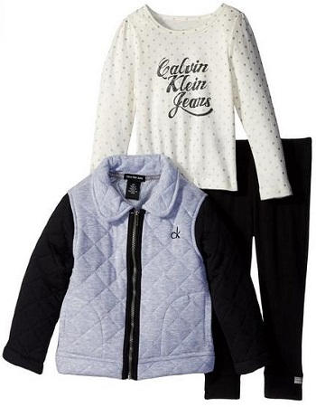 Calvin Klein Little Girls Gray Quilted Jacket With Tee And Pants