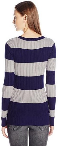 Derek Heart Juniors' Long-Sleeve V-Neck Stripe