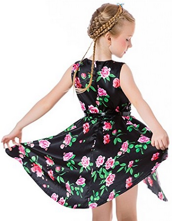 Ephex Toddler Girls Flower Princess Silky Dress With Floral Print