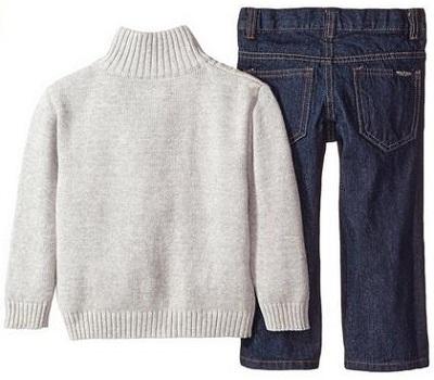 Nautica Little Boys 3 Piece Set Woven Sweater Denim
