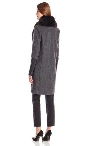 BCBGMAXAZRIA Women's Wool-Blend Coat With Faux-Fur Trim