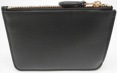 Coach Crossgrain Leather Coin Case With Keychain Black