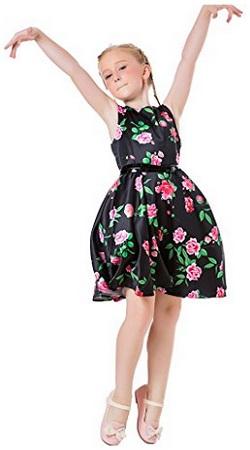 Ephex Toddler Girls Flower Princess Silky Dress With Floral Print