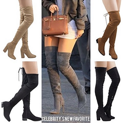 ROF Women's Thigh High Over The Knee Pointy Boots