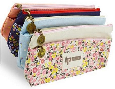 Ipow Flower Floral Canvas Cosmetic Pen Pencil Stationery Pouch Bag Case