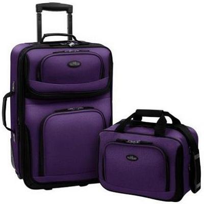 US Traveler Rio 2 Piece Expandable Carry-On Luggage Set