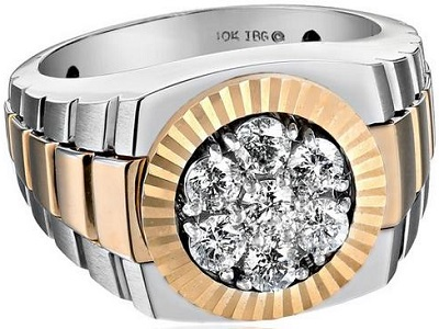 Men's 14K 2-Tone Gold With High Polished Finish Diamond Cluster Ring