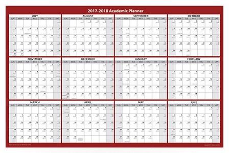 2017 – 2018 Academic Wall Calendar