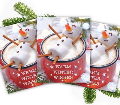 Cocoa Snowman Holiday Card Pack Set Of 25 Winter Wishes Cards