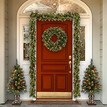 National Tree Company Pre-lit Artificial Christmas Wreath With Mixed Decorations And White Lights
